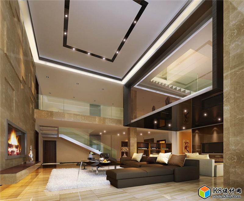 现代别墅客厅沙发茶几电视柜组合3D模型 整体模型 k8设计网 Powered