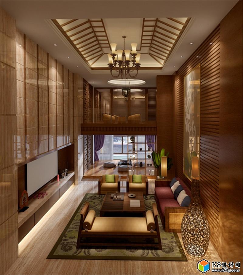 东南亚别墅客厅沙发椅子电视柜组合3D模型 整体模型 k8设计网