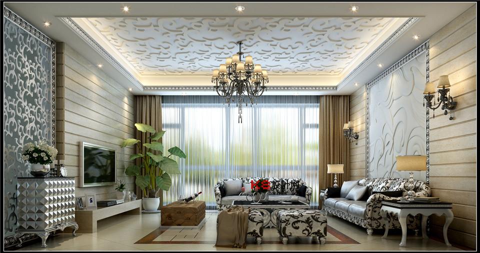 欧式风格客厅整体3d模型-编号573