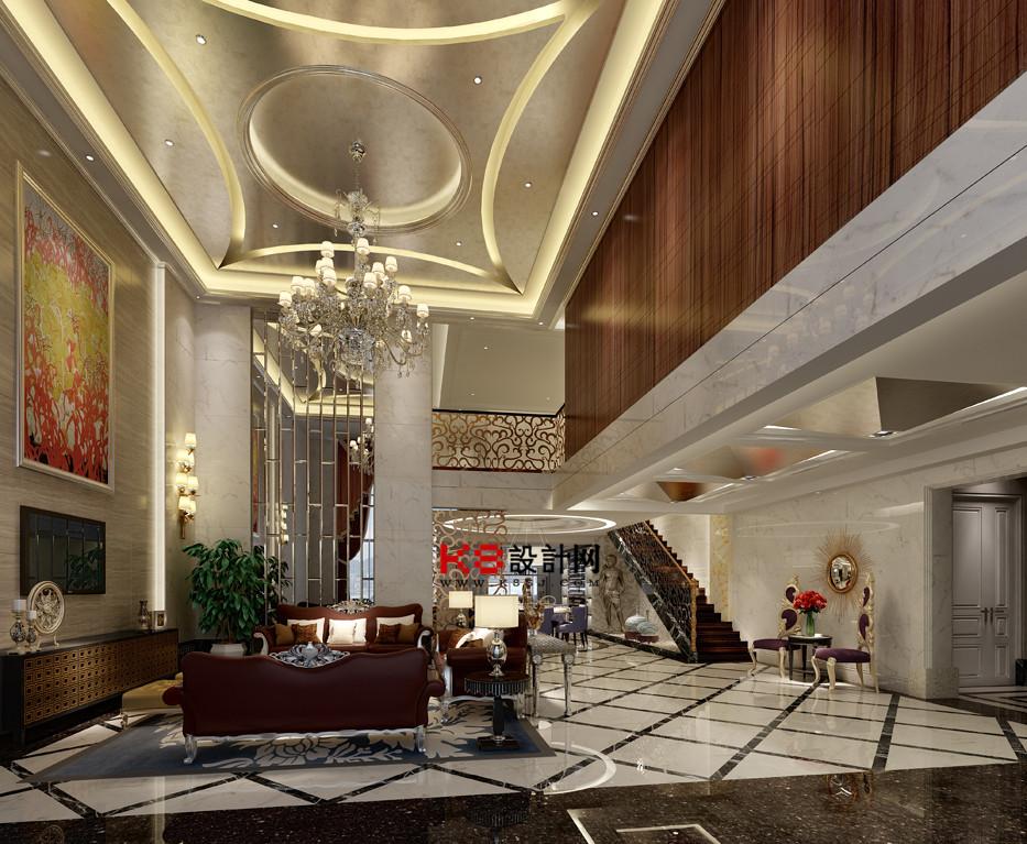 欧式奢华别墅客餐厅整体3d模型-编号744