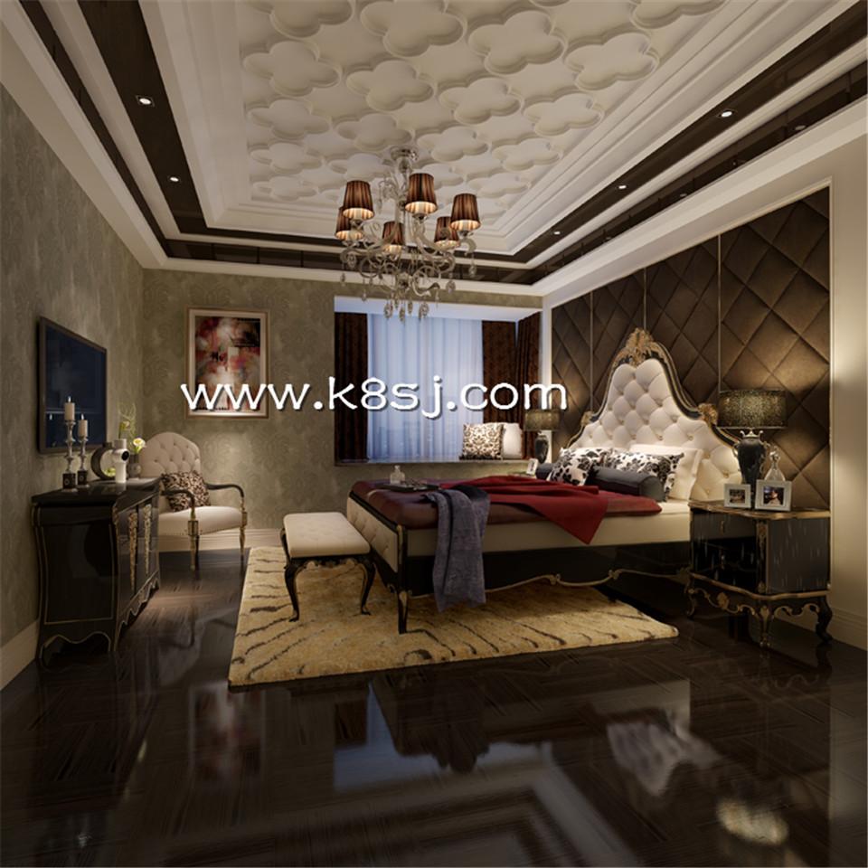 欧式古典风格卧室电视柜整体3d模型-编号977