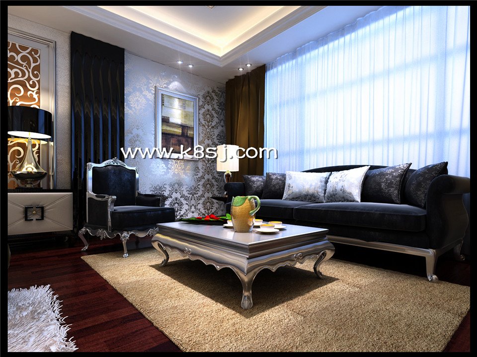 欧式风格卧室电视柜梳妆台多角度整体3d模型-编号995