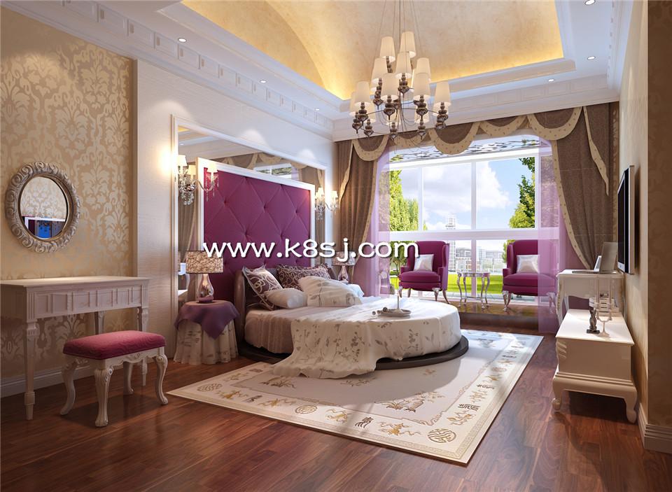 欧式风格卧室圆床电视柜梳妆台整体3d模型-编号1007