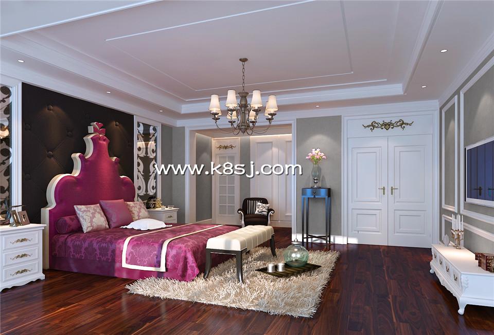 欧式风格卧室电视柜整体3d模型-编号1012