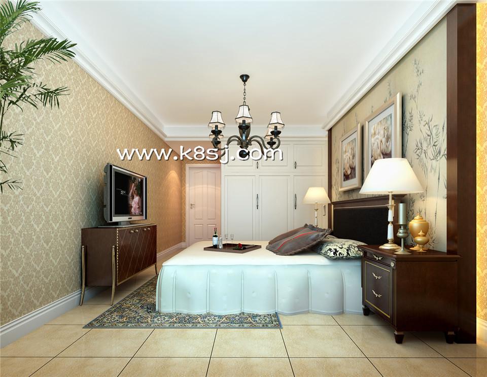 欧式风格卧室电视柜衣柜整体3d模型-编号1050