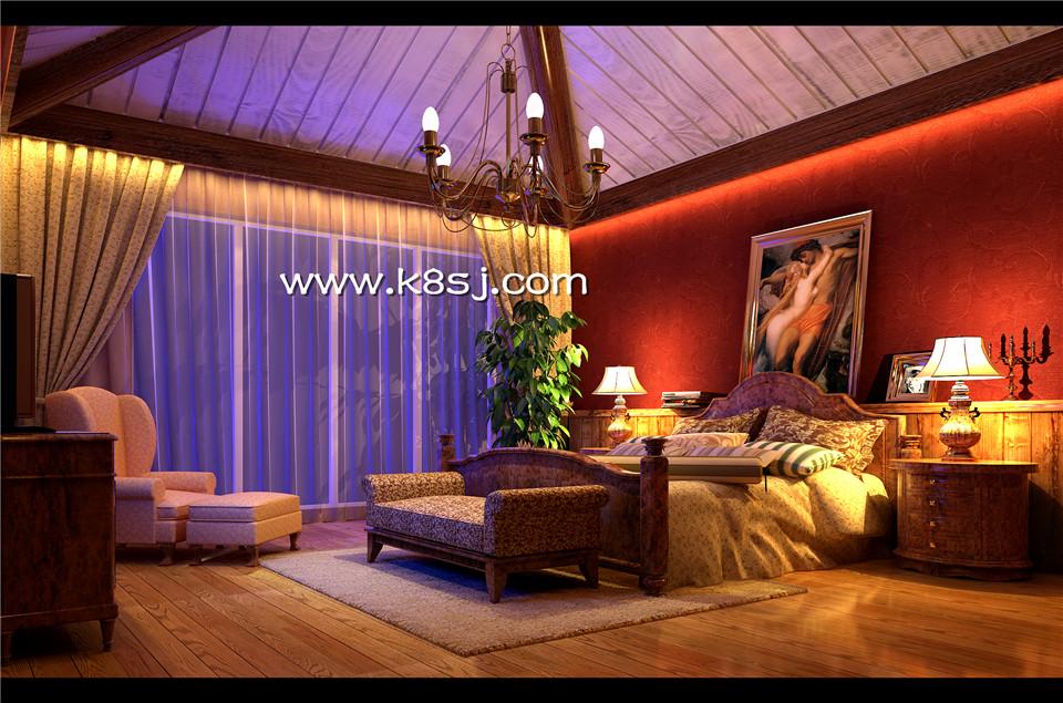 欧式古典风格卧室电视柜整体3d模型-编号1065