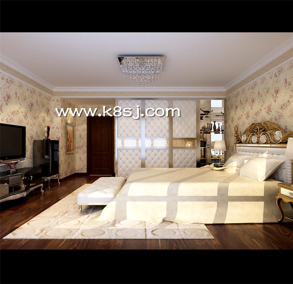 欧式风格卧室电视柜衣柜整体3d模型-编号1084