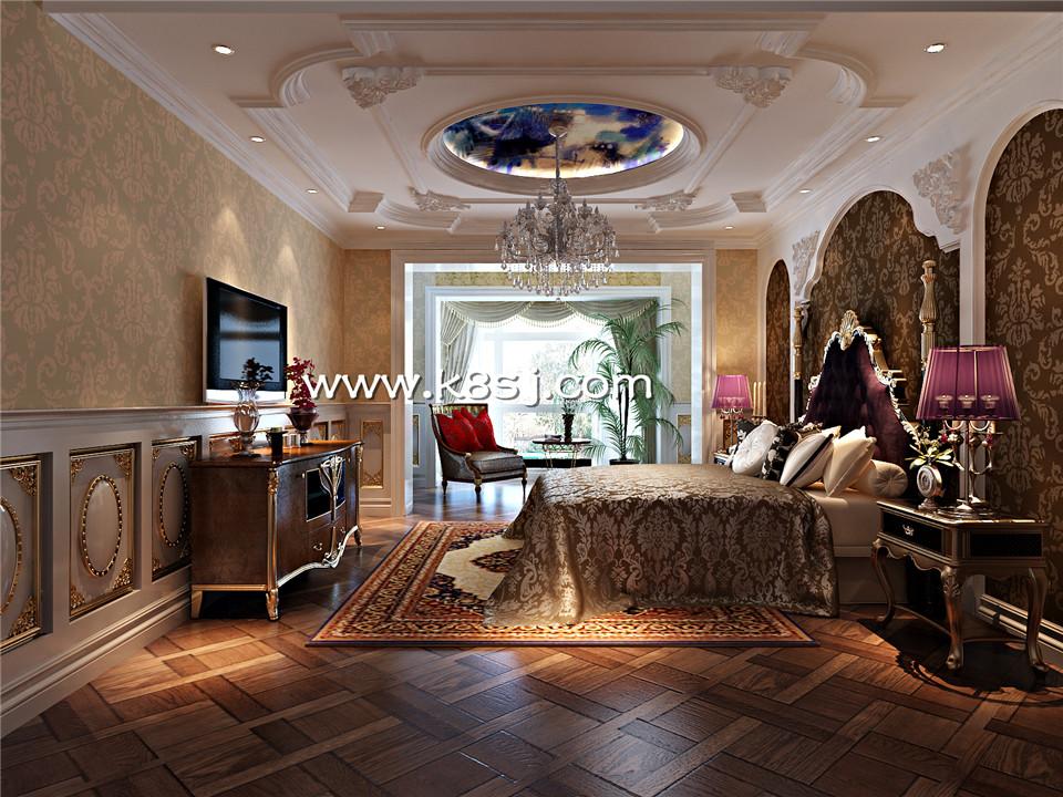 欧式古典风格卧室电视柜整体3d模型-编号1108