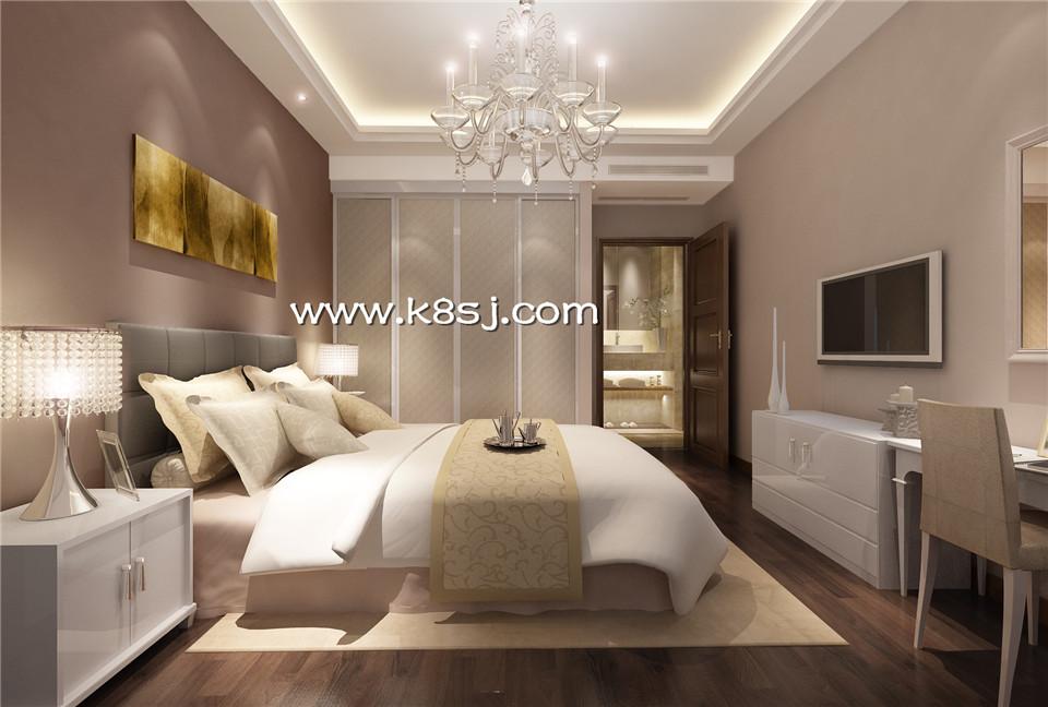 欧式风格卧室电视柜衣柜梳妆台组合整体3d模型-编号