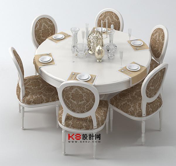 欧式风格圆形餐桌椅子组合单体3d模型-编号2234