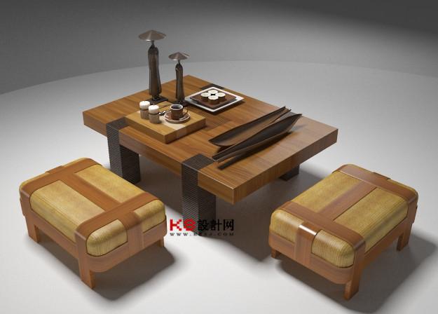 东南亚风格桌椅组合单体3d模型-编号2478