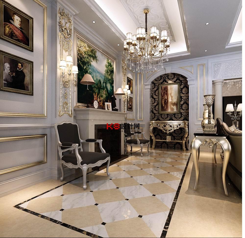 欧式风格客厅餐厅过道多角度整体3d模型-编号4507