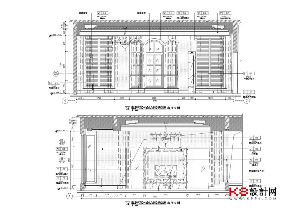 广州欧式奢华别墅cad施工图含效果图