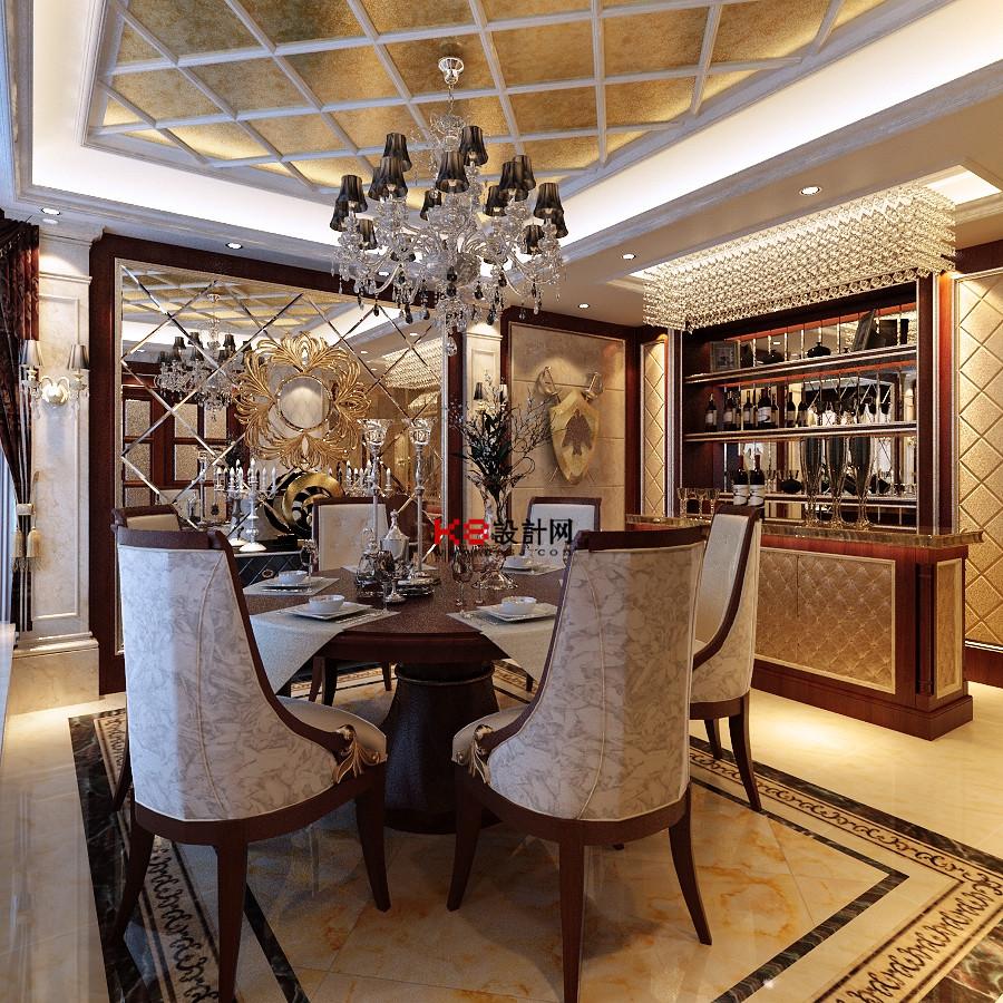 欧式风格复式楼客厅餐厅过道多角度整体3d模型-编号