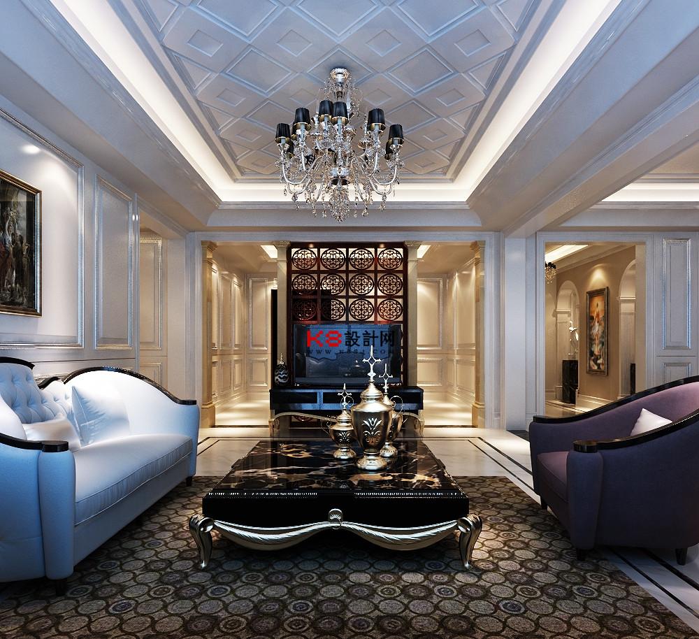 欧式风格客餐厅过道玄关多角度整体3d模型-编号4513