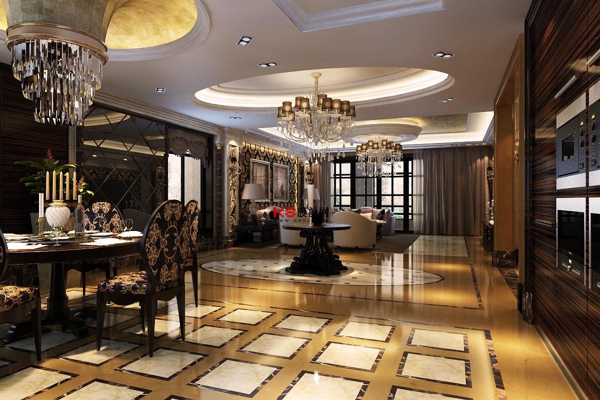 欧式风格万科客餐厅过道玄关多角度整体3d模型-编号