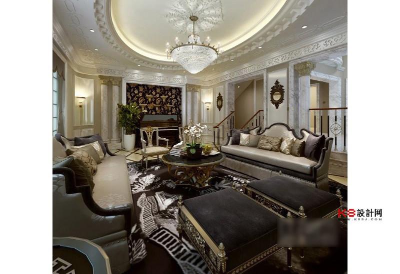 欧式风格别墅客厅沙发椅子凳子组合整体3d模型-编号