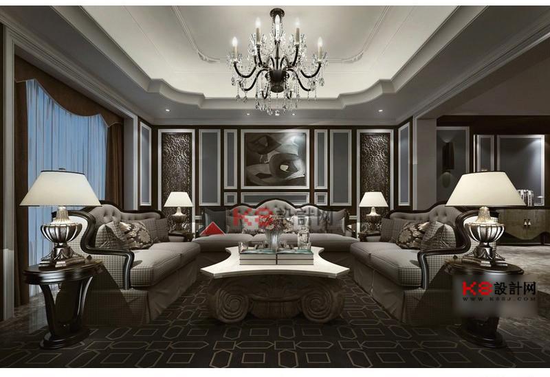 歐式客廳沙發椅子茶幾組合單體3d模型-編號4637