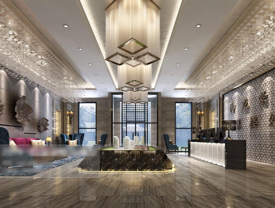 欧式奢华售楼中心沙盘前台整体3d模型-编号5305