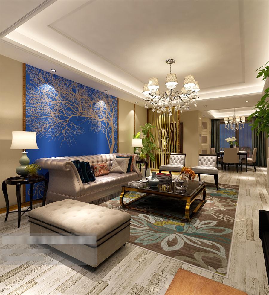 欧式风格客餐厅沙发茶几组合整体3d模型-编号5459