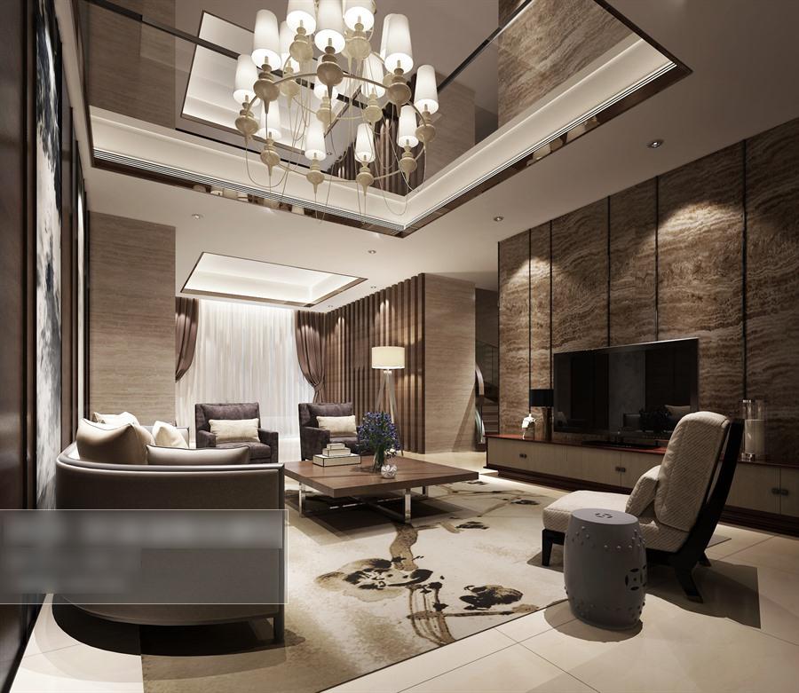 新中式風格客廳沙發茶幾組合整體3d模型-編號5463