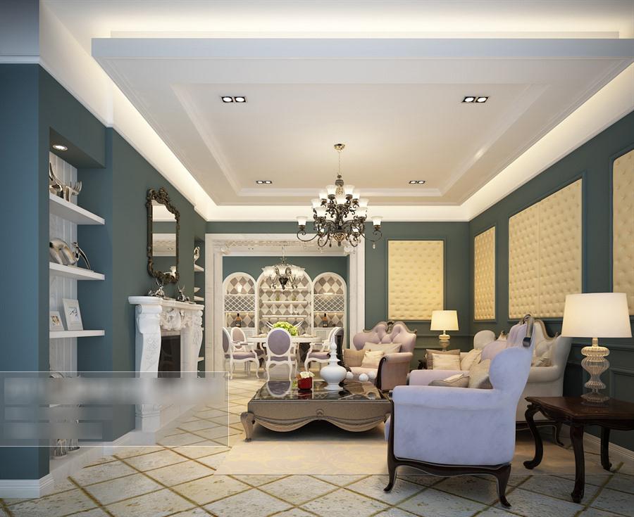 欧式风格客餐厅沙发茶几组合整体3d模型-编号5519