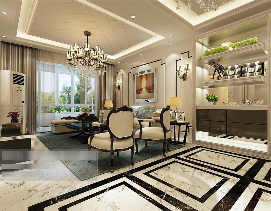 欧式风格客餐厅沙发茶几组合多角度整体3d模型-编号