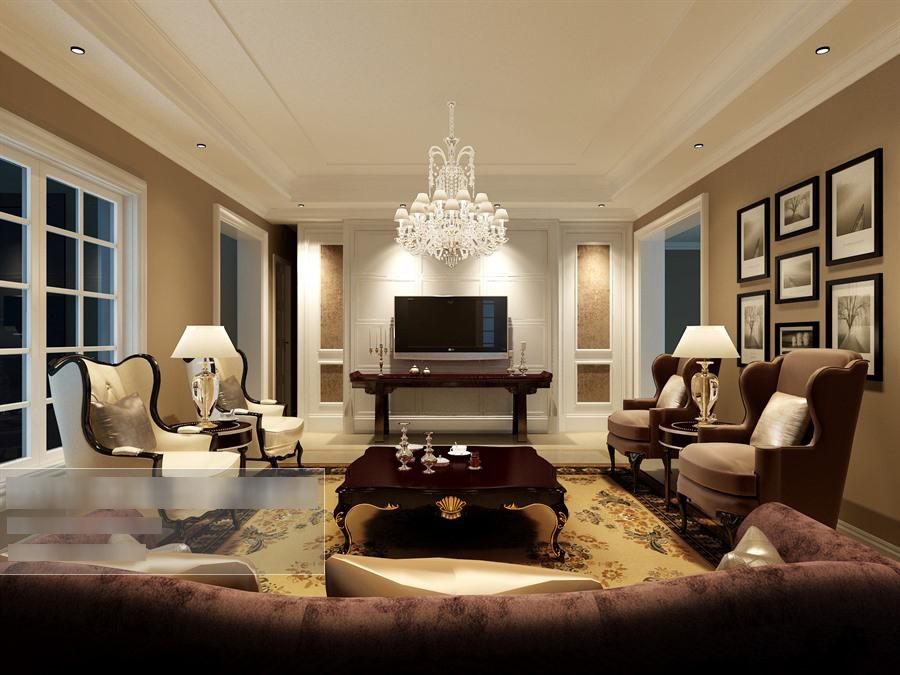 欧式风格客厅沙发茶几组合整体3d模型-编号5629