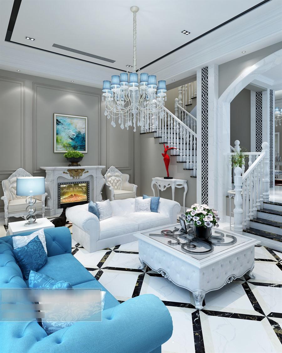 欧式风格客厅沙发茶几组合整体3d模型-编号5653