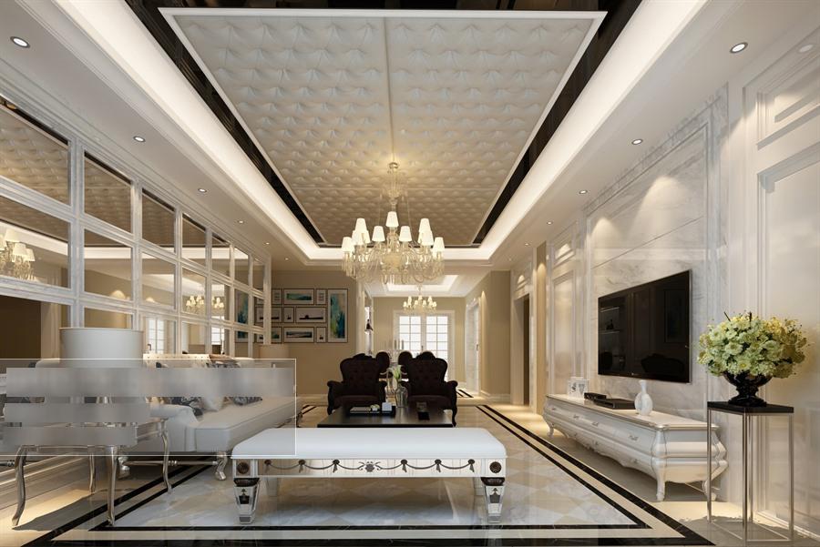 欧式风格客餐厅沙发茶几组合整体3d模型-编号5698