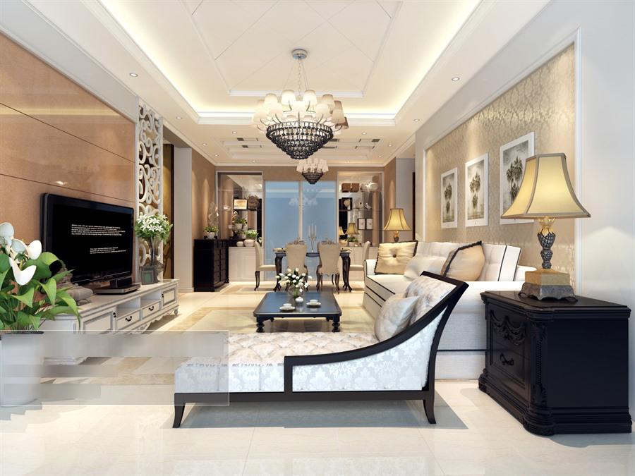 欧式风格客餐厅沙发茶几组合整体3d模型-编号5701