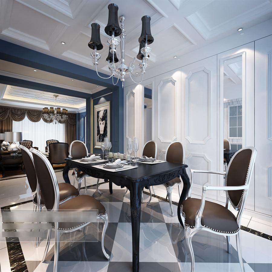 欧式风格餐厅餐桌椅组合整体3d模型-编号5801