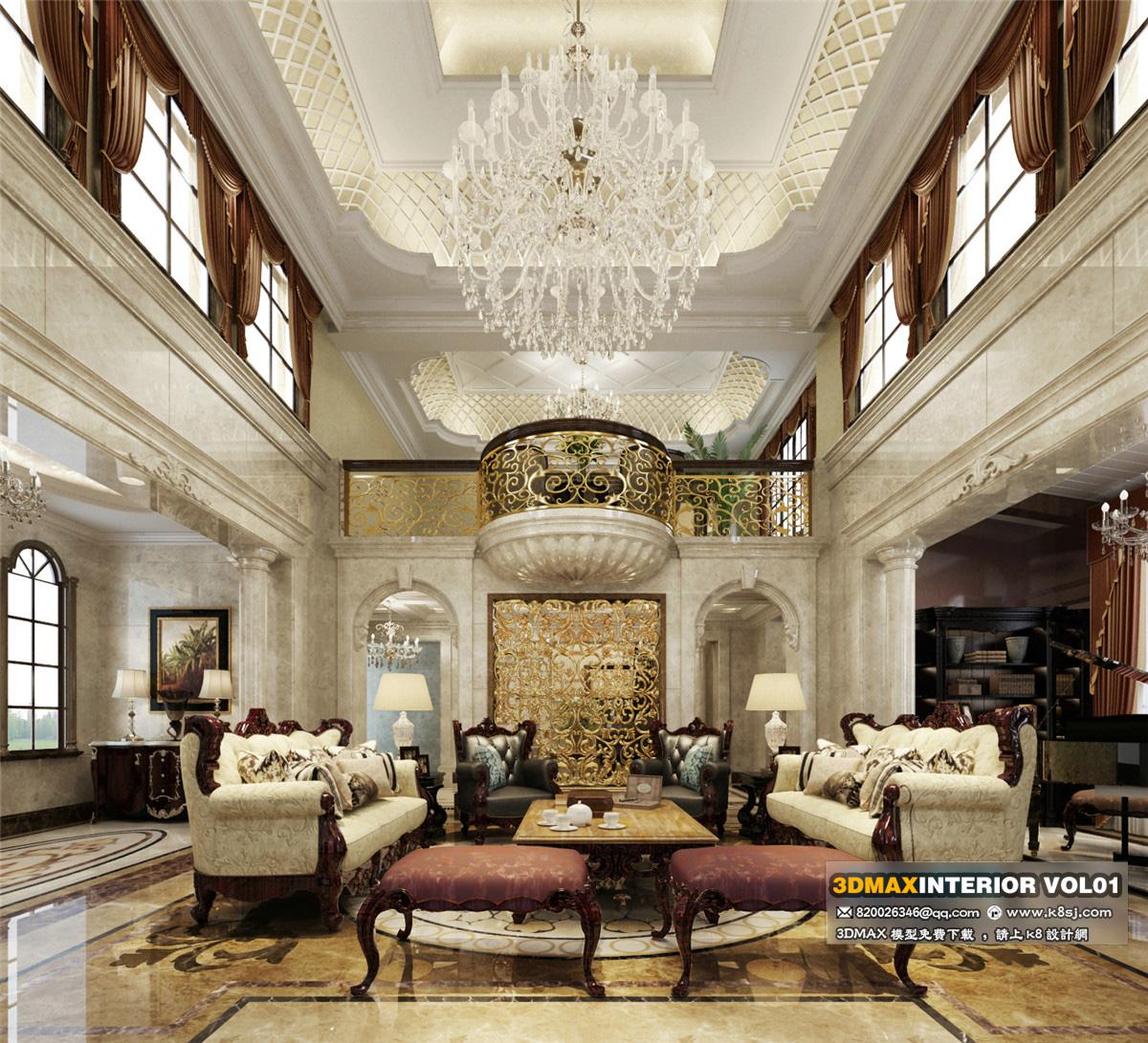 歐式風格別墅客廳沙發茶幾組合整體3d模型-編號6606