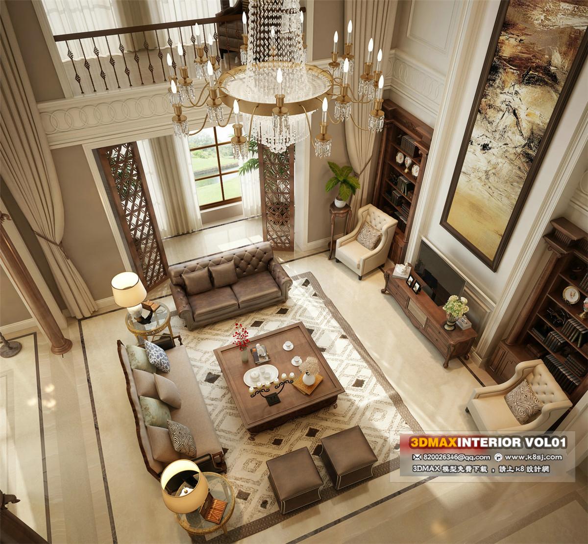 欧式风格复式客厅多角度整体3d模型-编号6657
