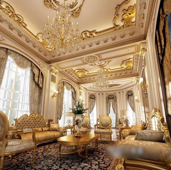 超炫欧式酒店式客厅白色